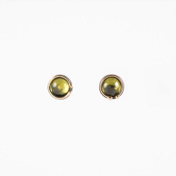 Pendiente mini Cosmos, plata oxidada, oro y peridoto